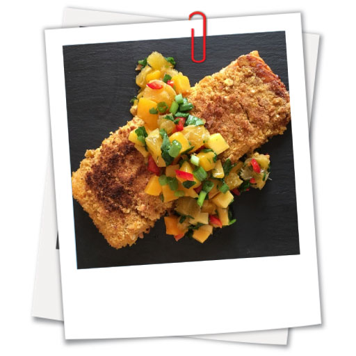 P33 - Plantain Crusted Salmon with Mango Salsa