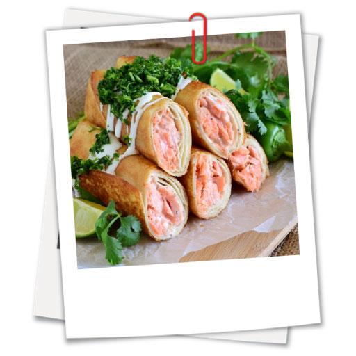 Salmon Flautas with Cilantro Lime Gremolata