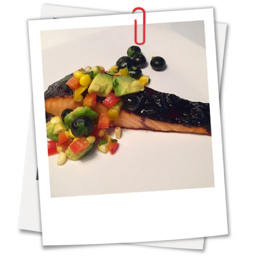 Blueberry Chipotle Glazed Salmon with Summertime Salsa