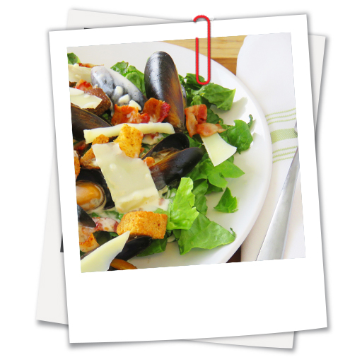 Caesar salad with mussels